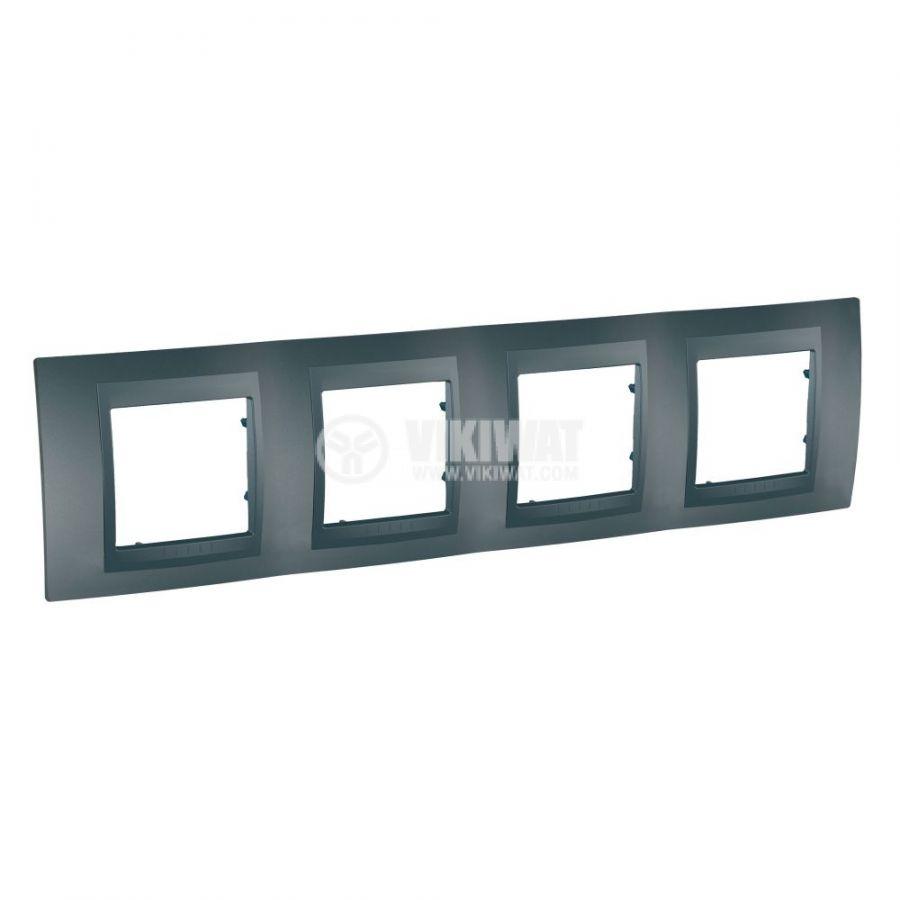 Хоризонтална рамка, Schneider, Unica Top, четири гнезда, цвят графит, MGU6.008.12
