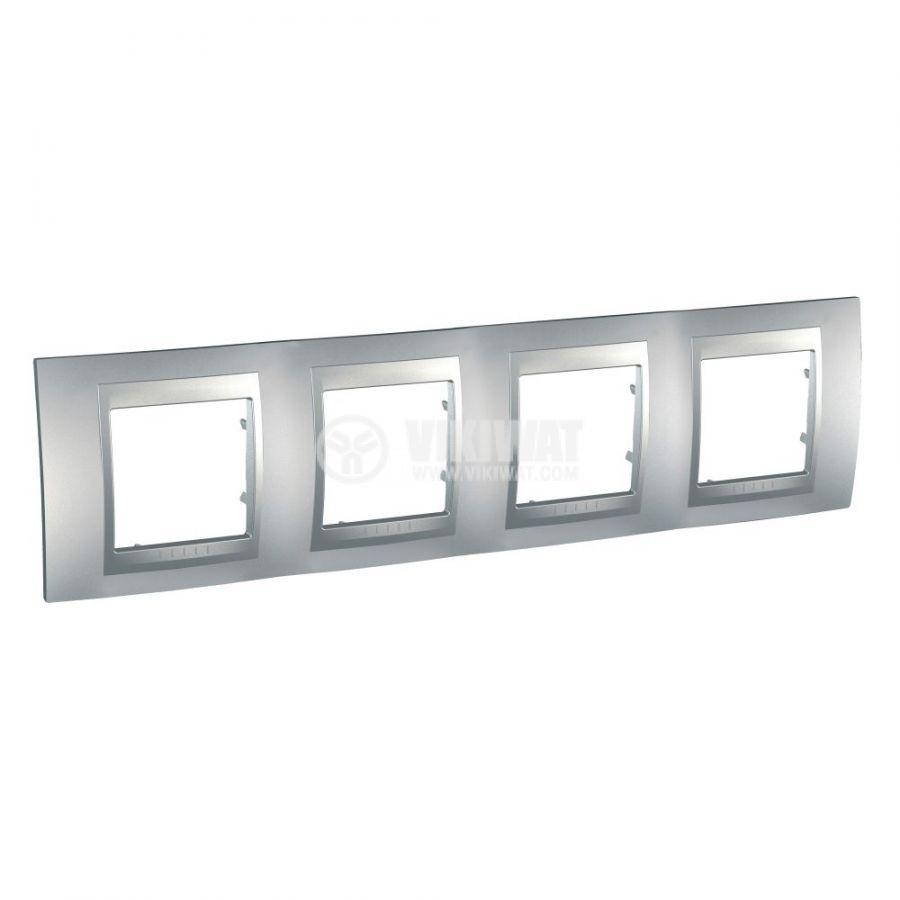 Хоризонтална рамка, Schneider, Unica Top, четири гнезда, цвят алуминий, MGU6.008.30