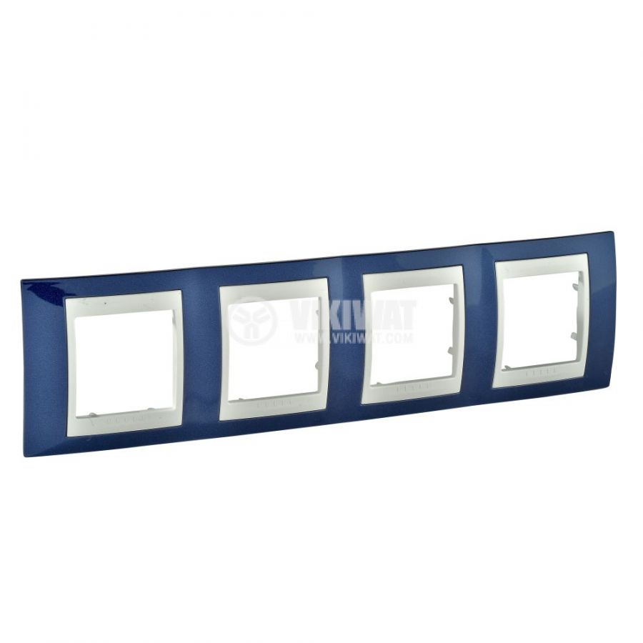 Horizontal frame, Schneider, Unica Plus, 4-gang, indigo blue color, MGU6.008.542