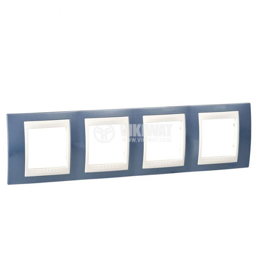 Хоризонтална рамка, Schneider, Unica Plus, четири гнезда, цвят ледено син, MGU6.008.554