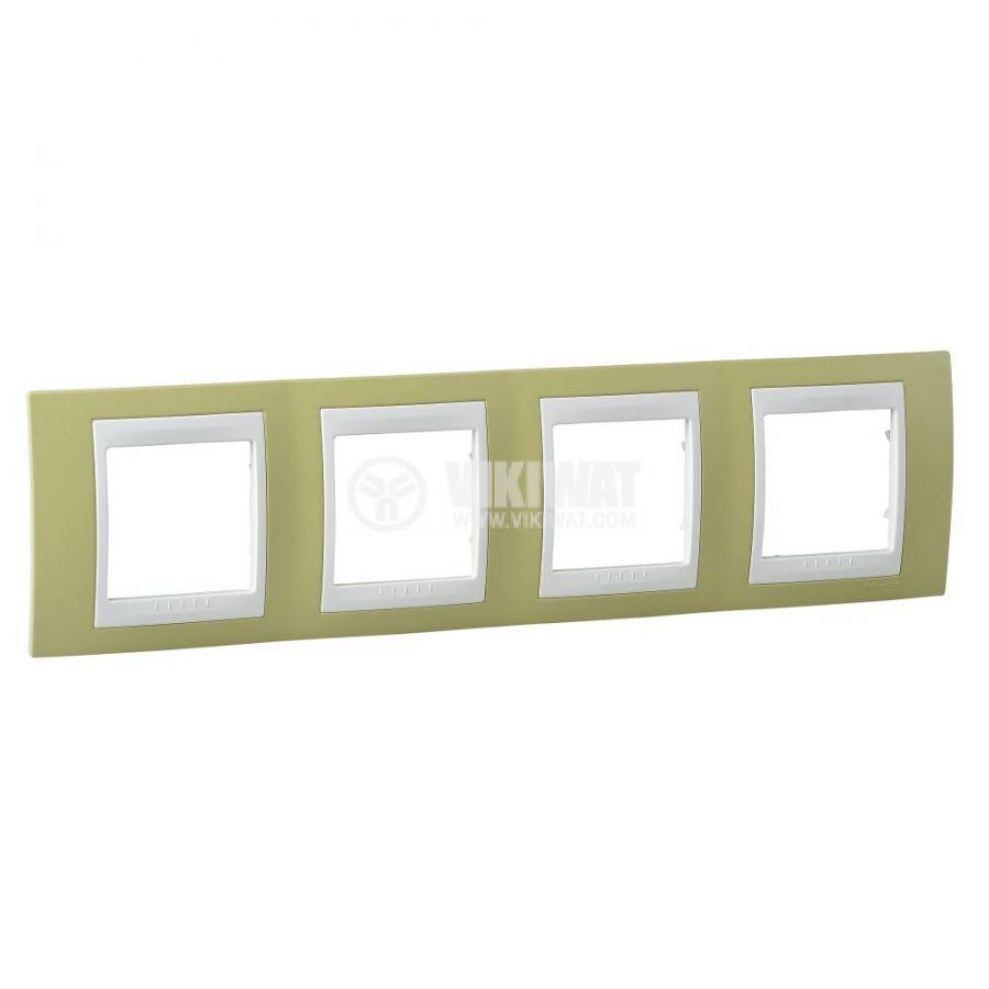 Хоризонтална рамка, Schneider, Unica Plus, четири гнезда, цвят зелена ябълка, MGU6.008.563