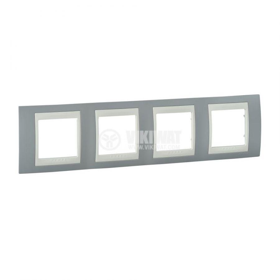 Хоризонтална рамка, Schneider, Unica Plus, четири гнезда, цвят светло сив, MGU6.008.565