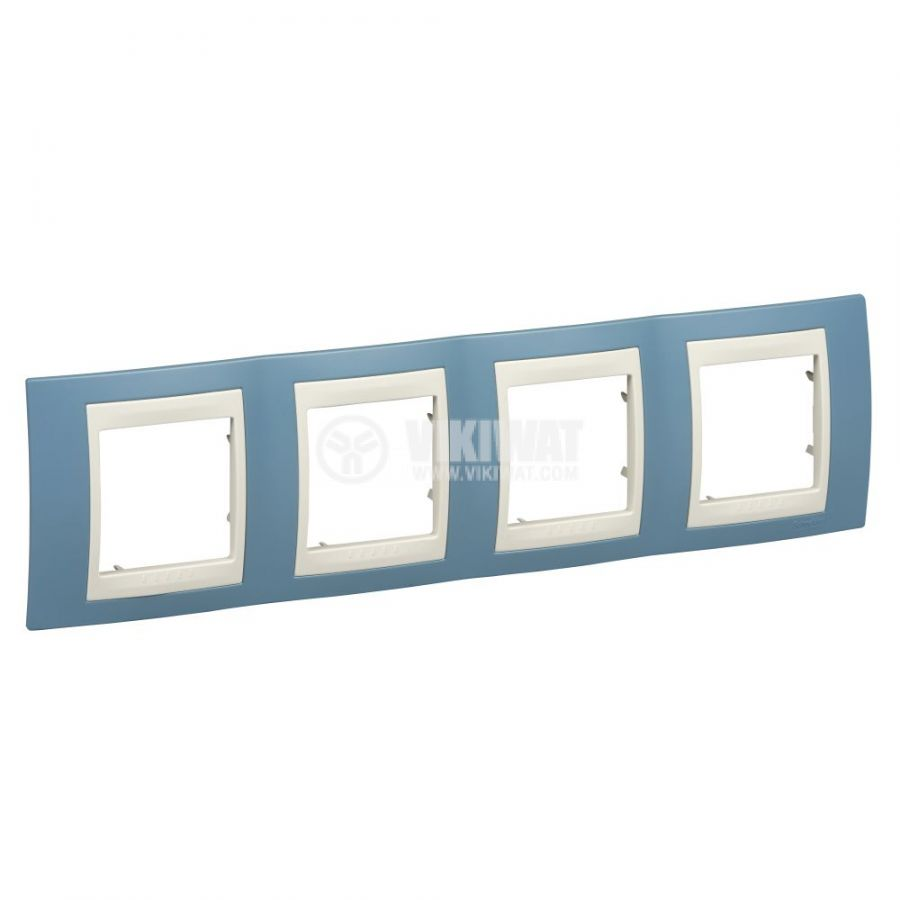 Хоризонтална рамка, Schneider, Unica Plus, четири гнезда, цвят светло син, MGU6.008.573