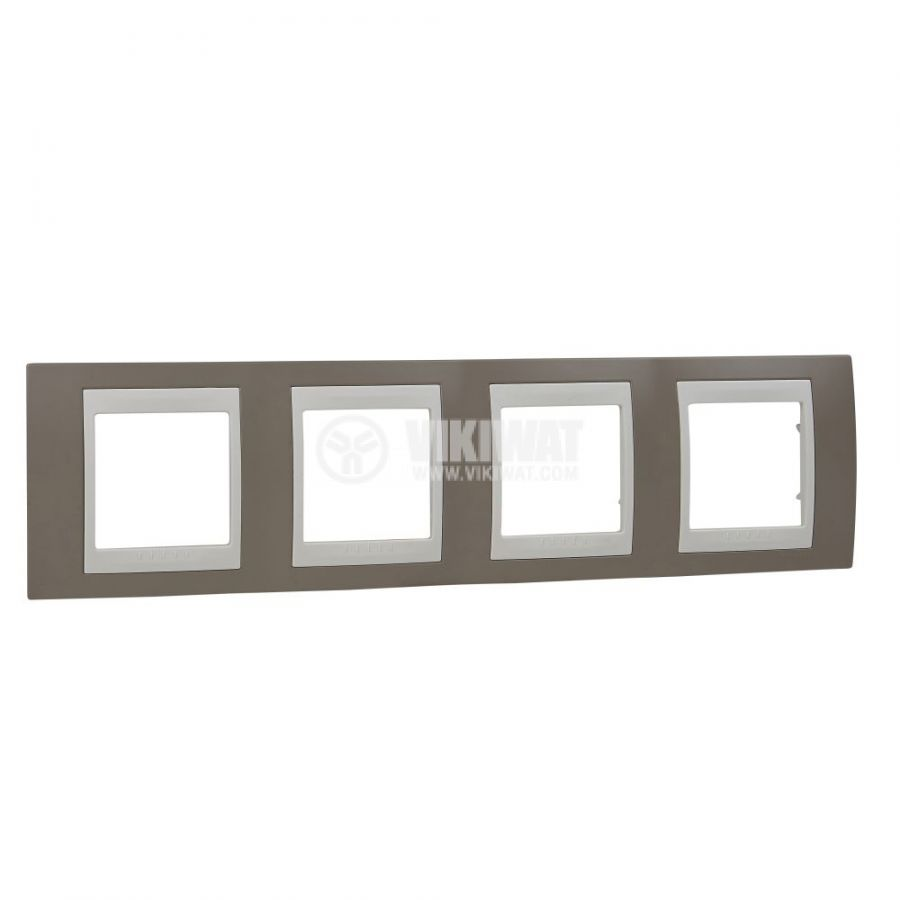 Хоризонтална рамка, Schneider, Unica Plus, четири гнезда, цвят млечно кафяв, MGU6.008.574