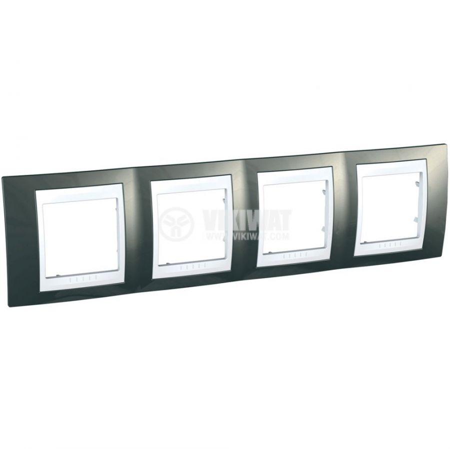 Хоризонтална рамка, Schneider, Unica Plus, четири гнезда, цвят светло сив, MGU6.008.824
