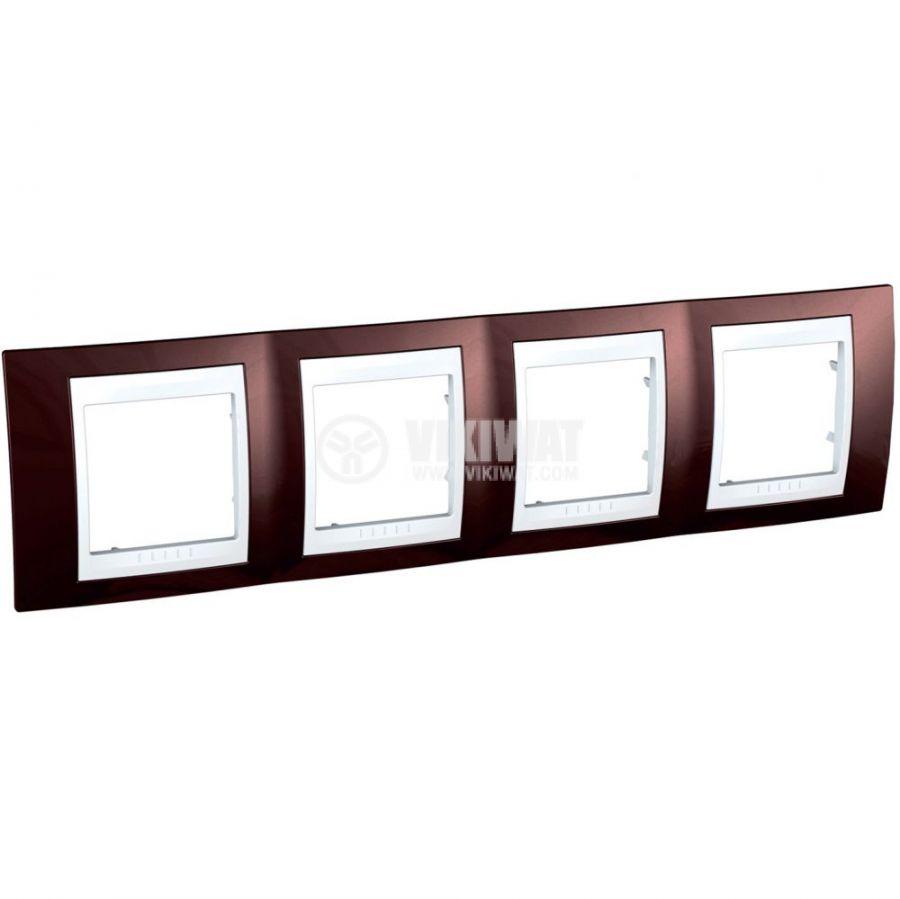 Хоризонтална рамка, Schneider, Unica Plus, четири гнезда, цвят теракота, MGU6.008.851