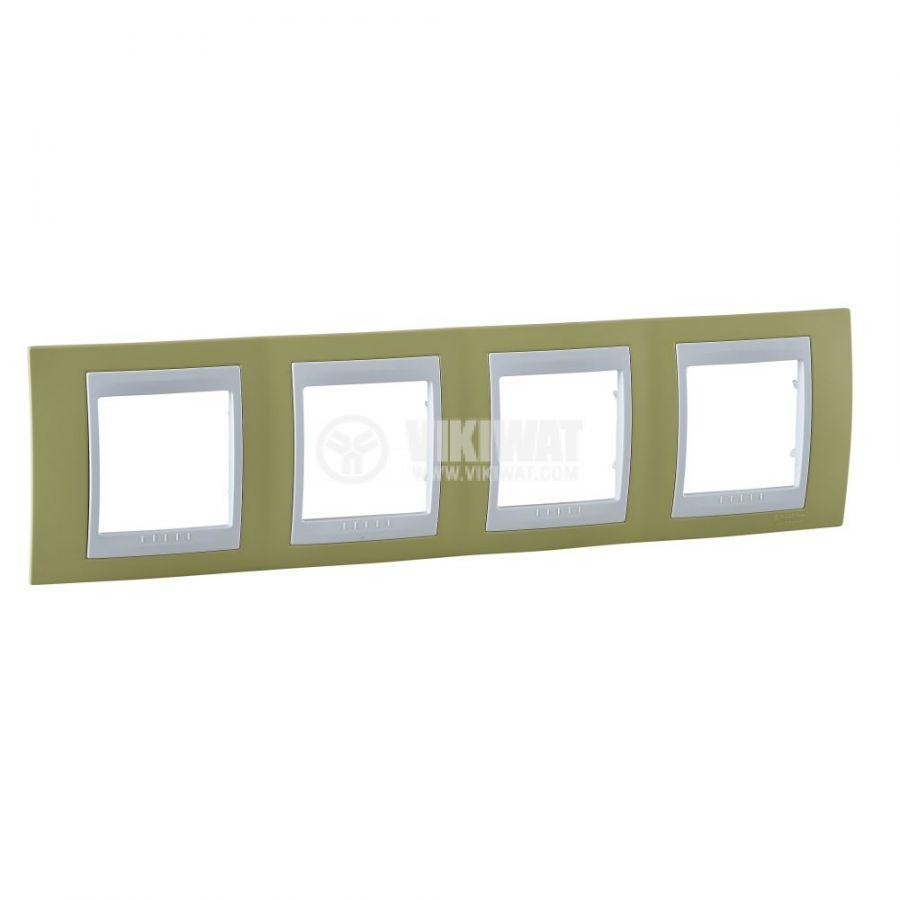Хоризонтална рамка, Schneider, Unica Plus, четири гнезда, цвят зелена ябълка, MGU6.008.863