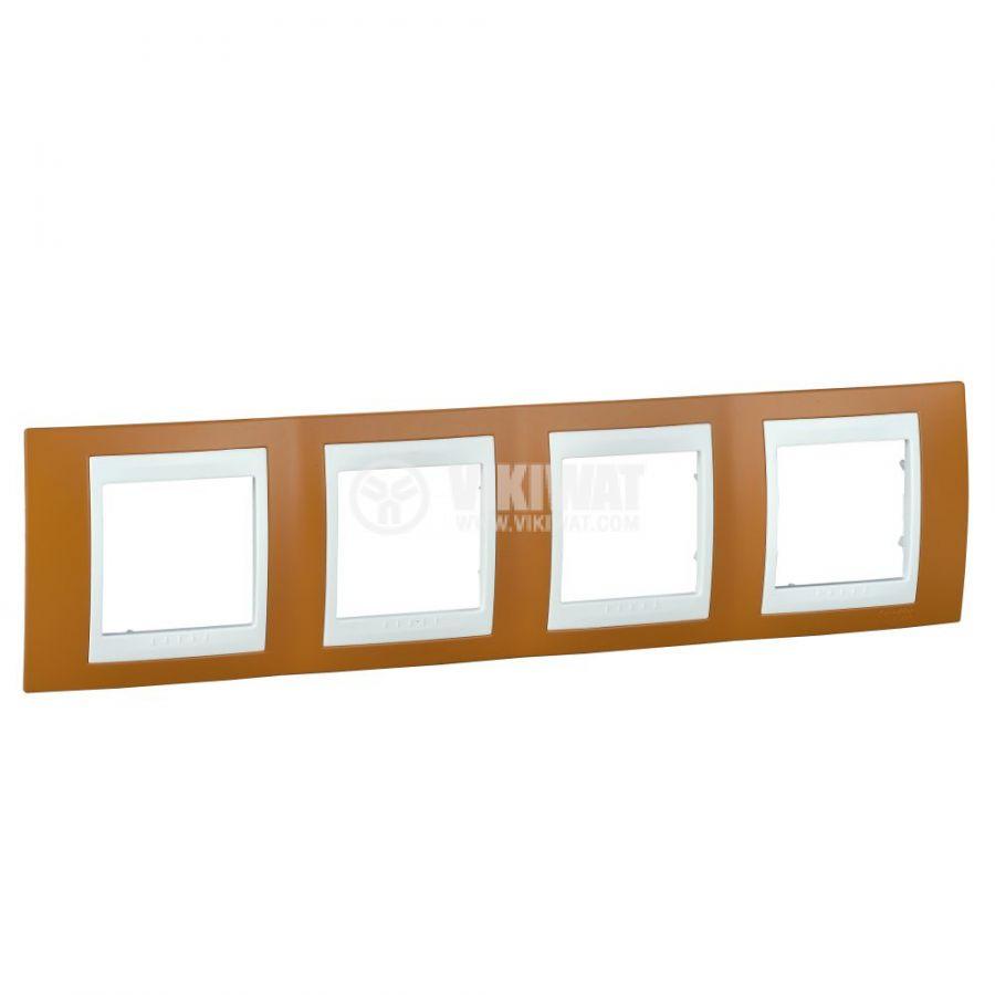 Хоризонтална рамка, Schneider, Unica Plus, четири гнезда, цвят оранжево, MGU6.008.869