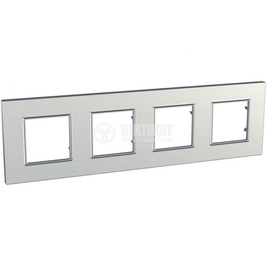 Хоризонтална рамка, Schneider, Unica Quadro, четири гнезда, цвят сребро, MGU6.708.55