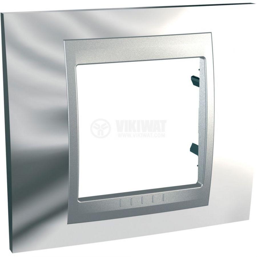Единична рамка, Schneider, Unica Top, едно гнездо, цвят хром, MGU66.002.010