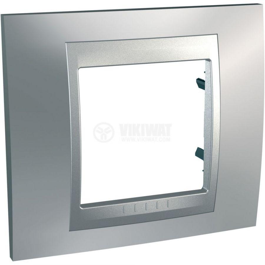 Единична рамка, Schneider, Unica Top, едно гнездо, цвят хром, MGU66.002.038