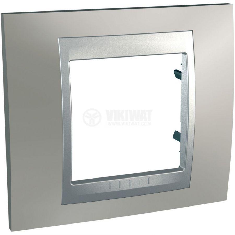 Единична рамка, Schneider, Unica Top, едно гнездо, цвят никел, MGU66.002.039