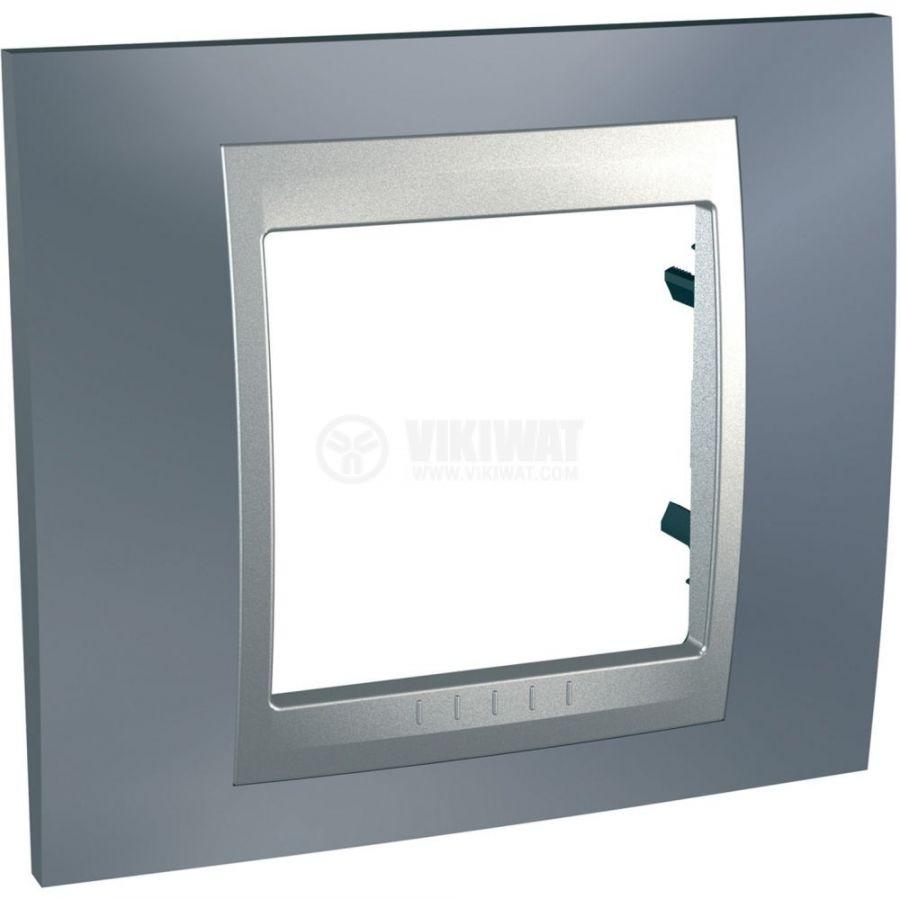 Единична рамка, Schneider, Unica Top, едно гнездо, цвят сив металик, MGU66.002.097