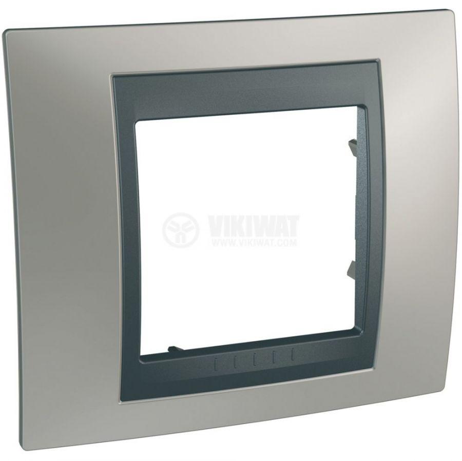 Единична рамка, Schneider, Unica Top, едно гнездо, цвят никел, MGU66.002.239