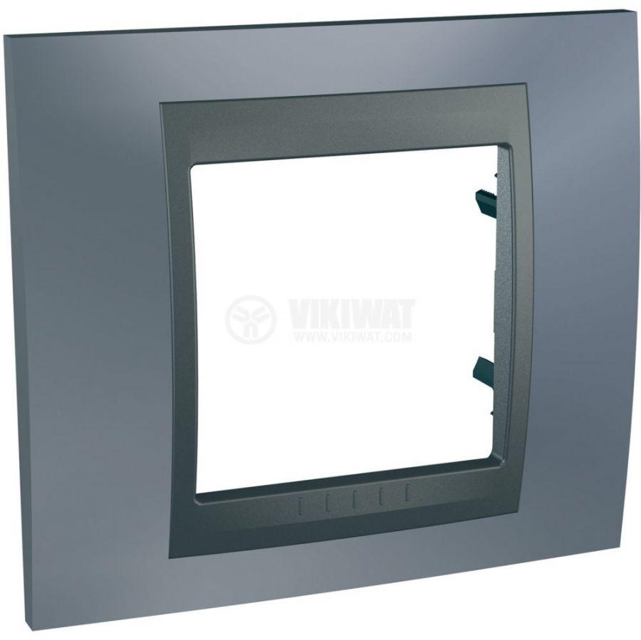 Единична рамка, Schneider, Unica Top, едно гнездо, цвят сив металик, MGU66.002.297