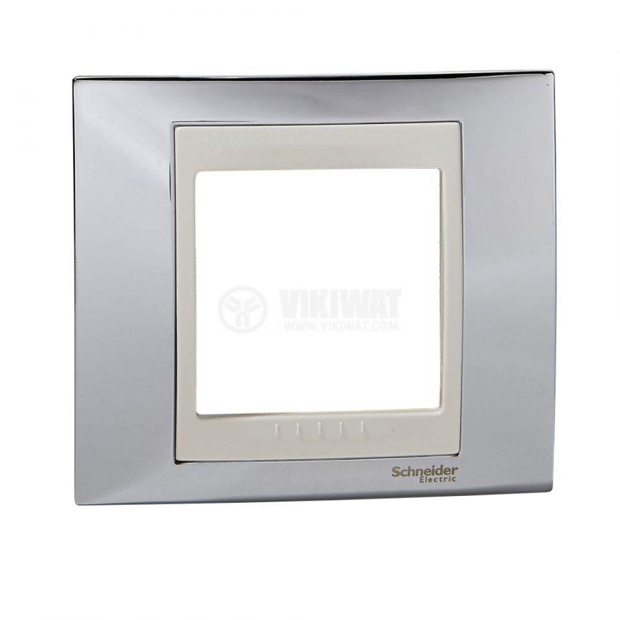 Единична рамка, Schneider, Unica Plus, едно гнездо, цвят хром, MGU66.002.510