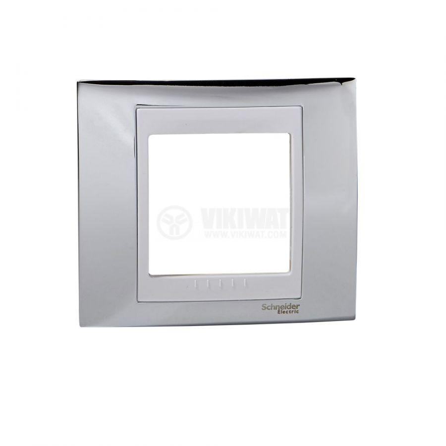Единична рамка, Schneider, Unica Plus, едно гнездо, цвят хром, MGU66.002.810