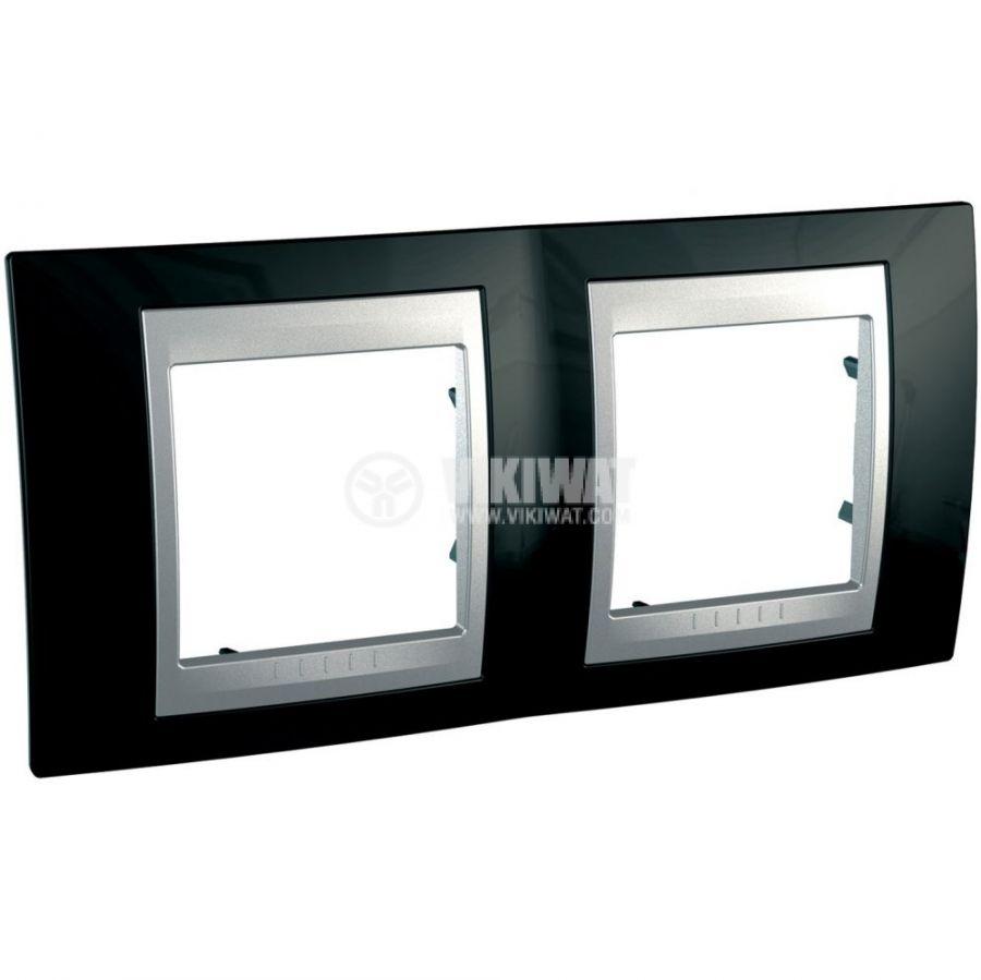 Horizontal frame, Schneider, Unica Top, 2-gang, rhodium black color, MGU66.004.093