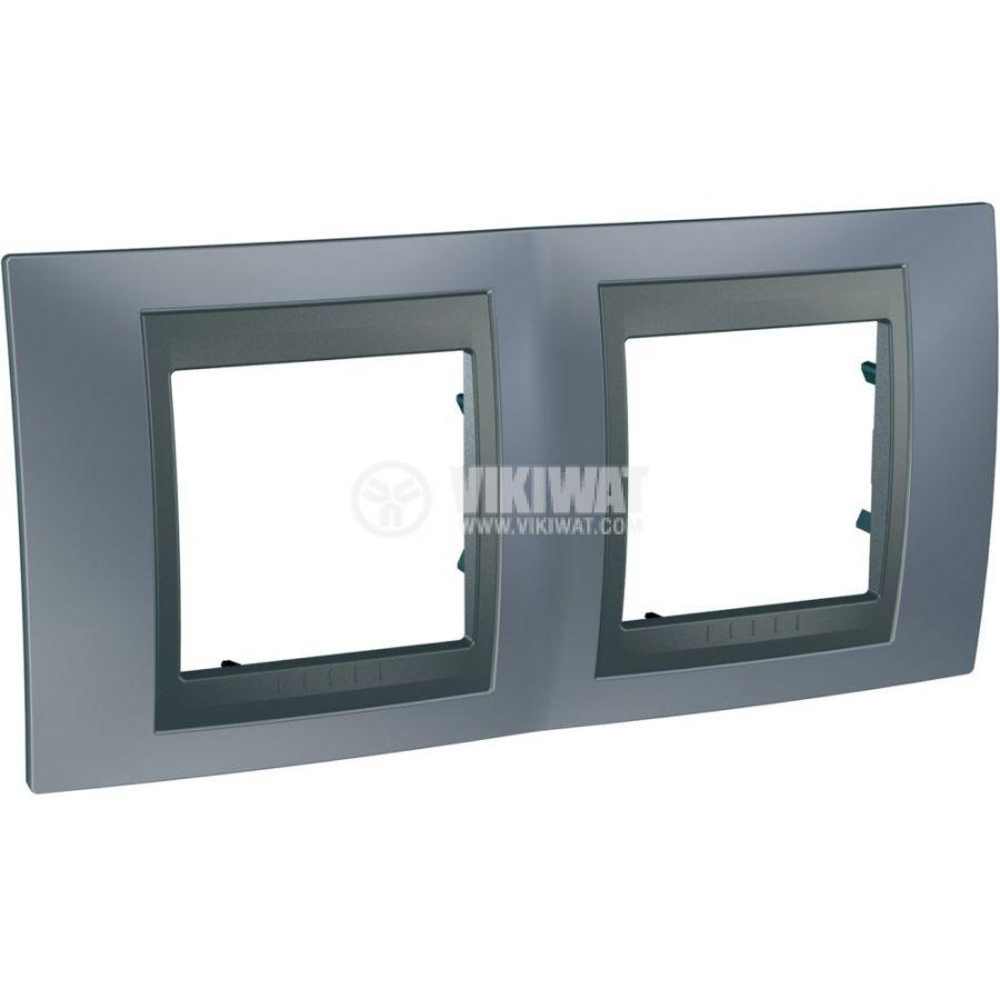Horizontal frame, Schneider, Unica Top, 2-gang, metal grey color, MGU66.004.297