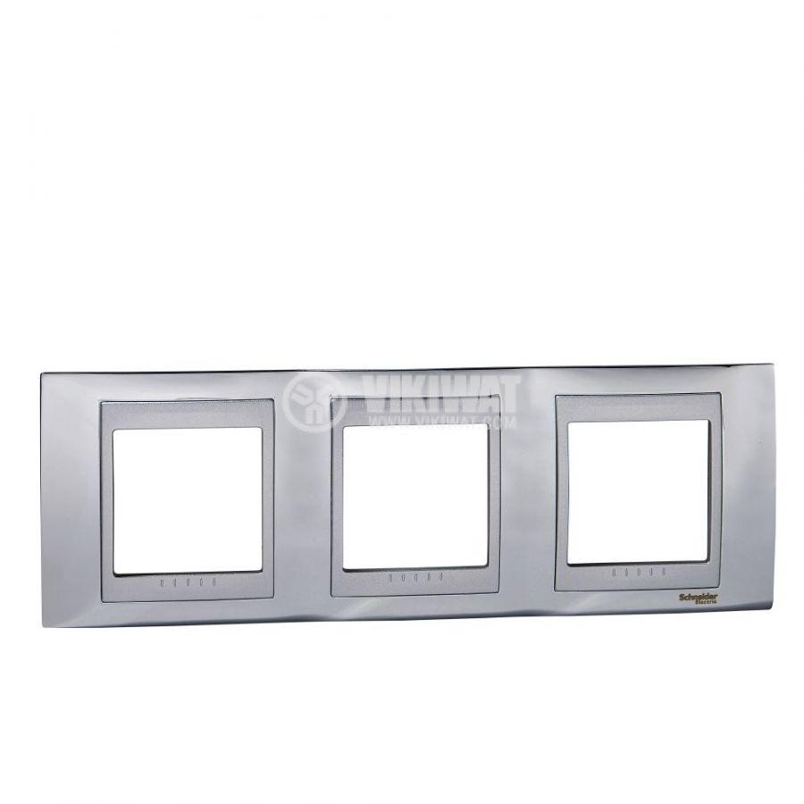 Хоризонтална рамка, Schneider, Unica Top, три гнезда, цвят хром, MGU66.006.010