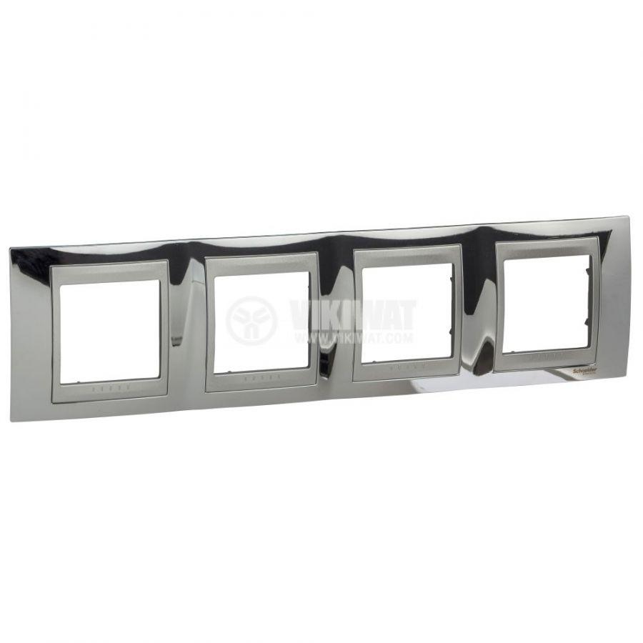 Хоризонтална рамка, Schneider, Unica Top, четири гнезда, цвят хром, MGU66.008.010
