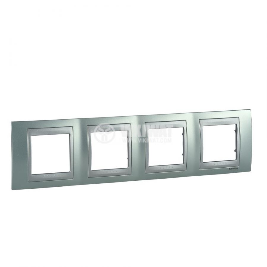 Хоризонтална рамка, Schneider, Unica Top, четири гнезда, цвят флуорит, MGU66.008.094