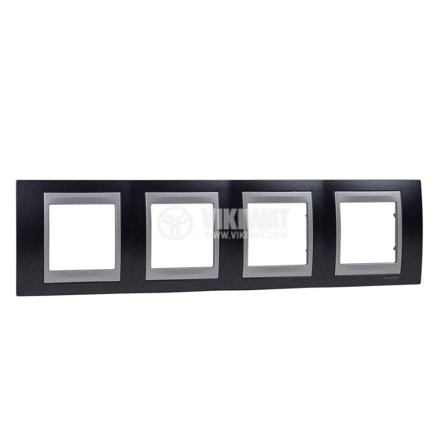 Хоризонтална рамка, Schneider, Unica Top, четири гнезда, цвят сив металик, MGU66.008.097