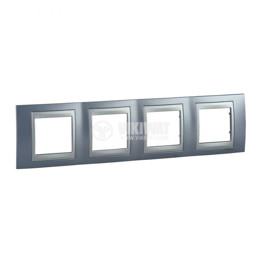 Хоризонтална рамка, Schneider, Unica Top, четири гнезда, цвят аквамарин, MGU66.008.098