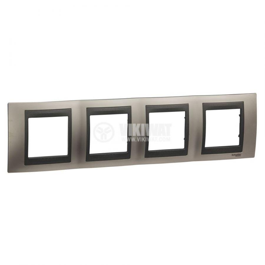 Хоризонтална рамка, Schneider, Unica Top, четири гнезда, цвят никел, MGU66.008.239