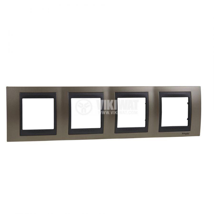 Хоризонтална рамка, Schneider, Unica Top, четири гнезда, цвят оникс, MGU66.008.296
