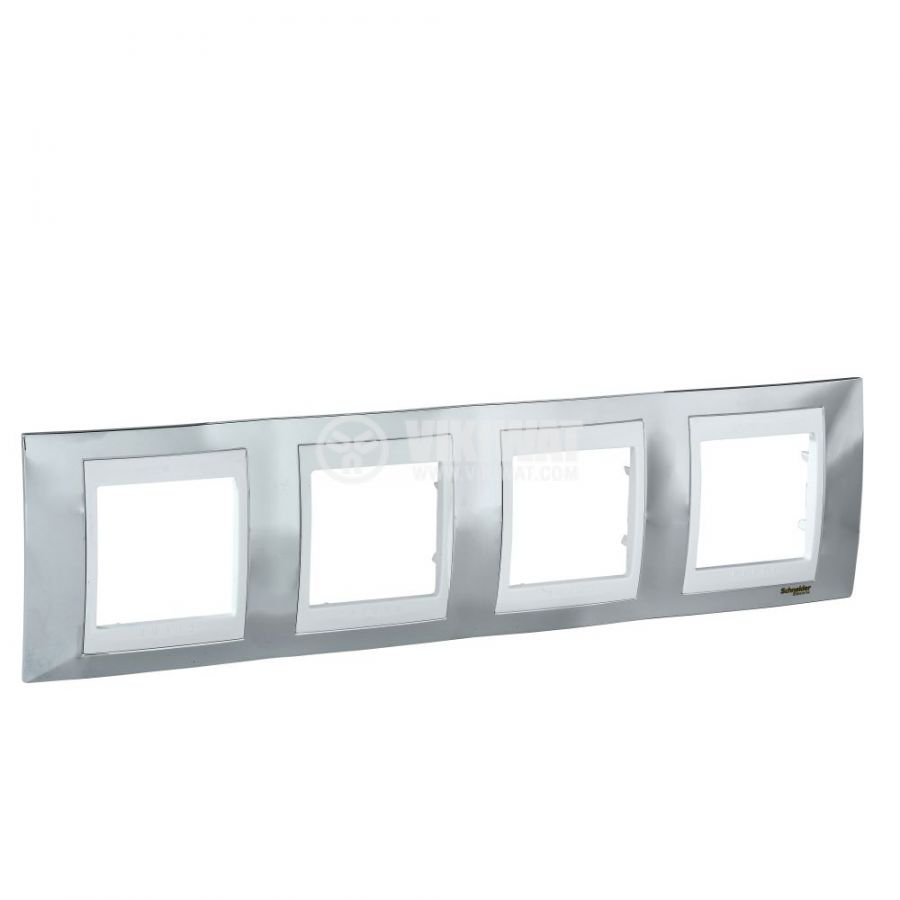 Хоризонтална рамка, Schneider, Unica Plus, четири гнезда, цвят хром, MGU66.008.810