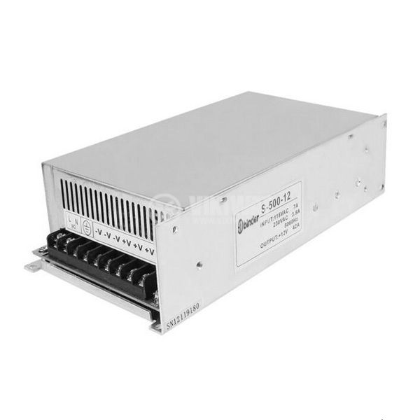 Switch power supply unit S-500-12, 220 VAC/12 VDC, 40 A, 500 W  - 1