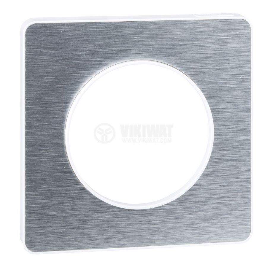 Декоративна рамка, единична, драскан алуминий/бял, PC/алуминий, S520802J