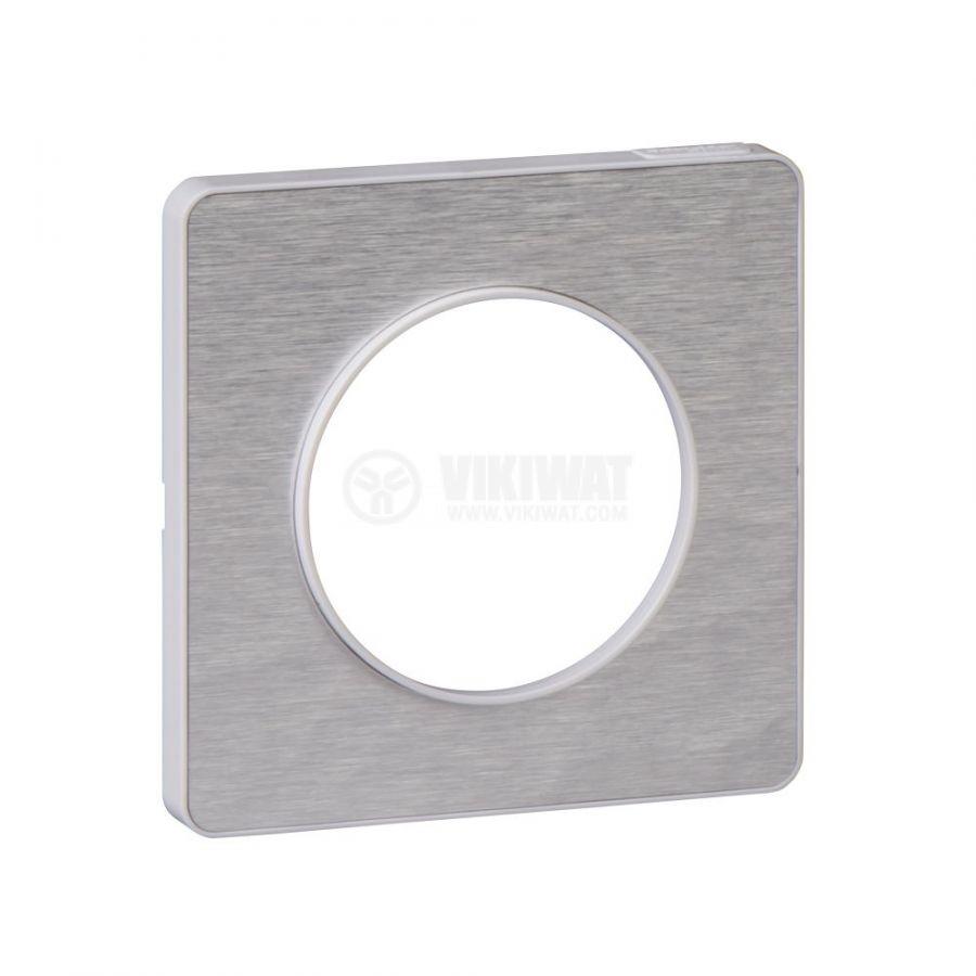 Декоративна рамка, единична, драскан алуминий/бял, PC/алуминий, S520802K