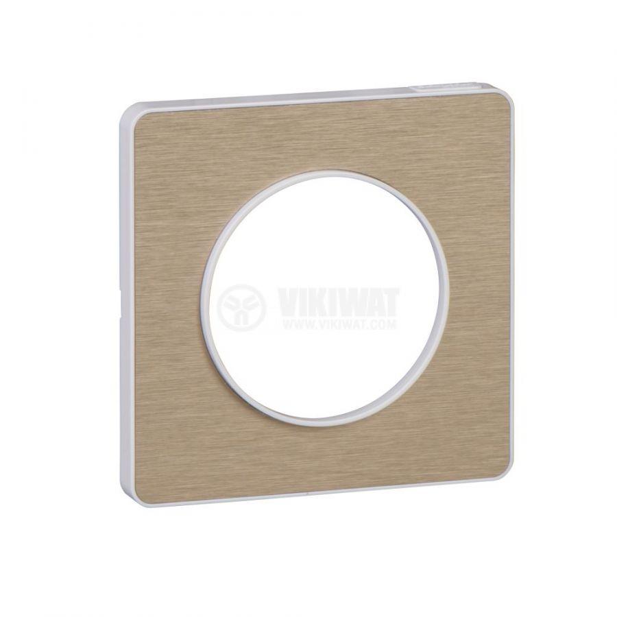 Декоративна рамка, единична, драскан бронз/бял, PC/алуминий, S520802L