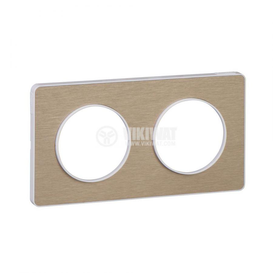 Декоративна рамка, двойна, драскан бронз/бял, PC/алуминий, S520804L