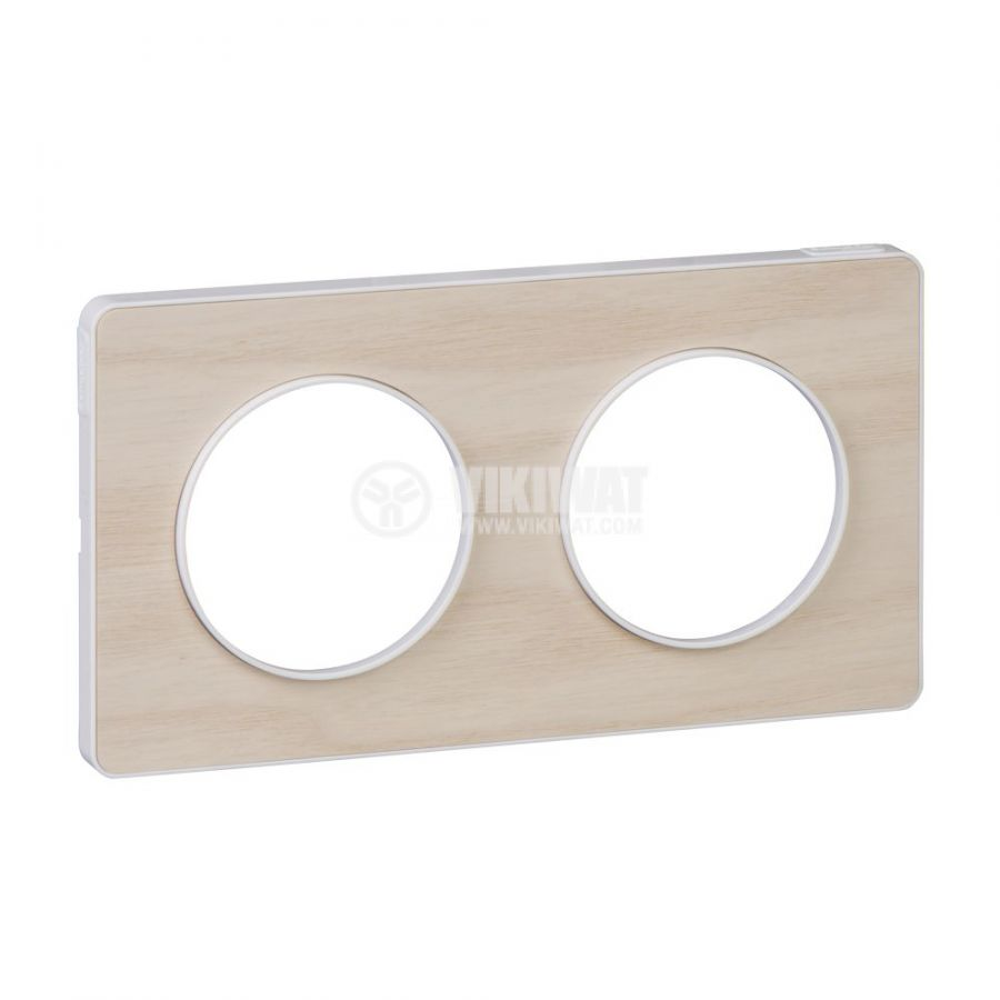 Декоративна рамка, двойна, дърво/бял, PC/дърво, S520804M