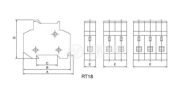 Държач за предпазител HR18-32 1P, 10x38mm - 2