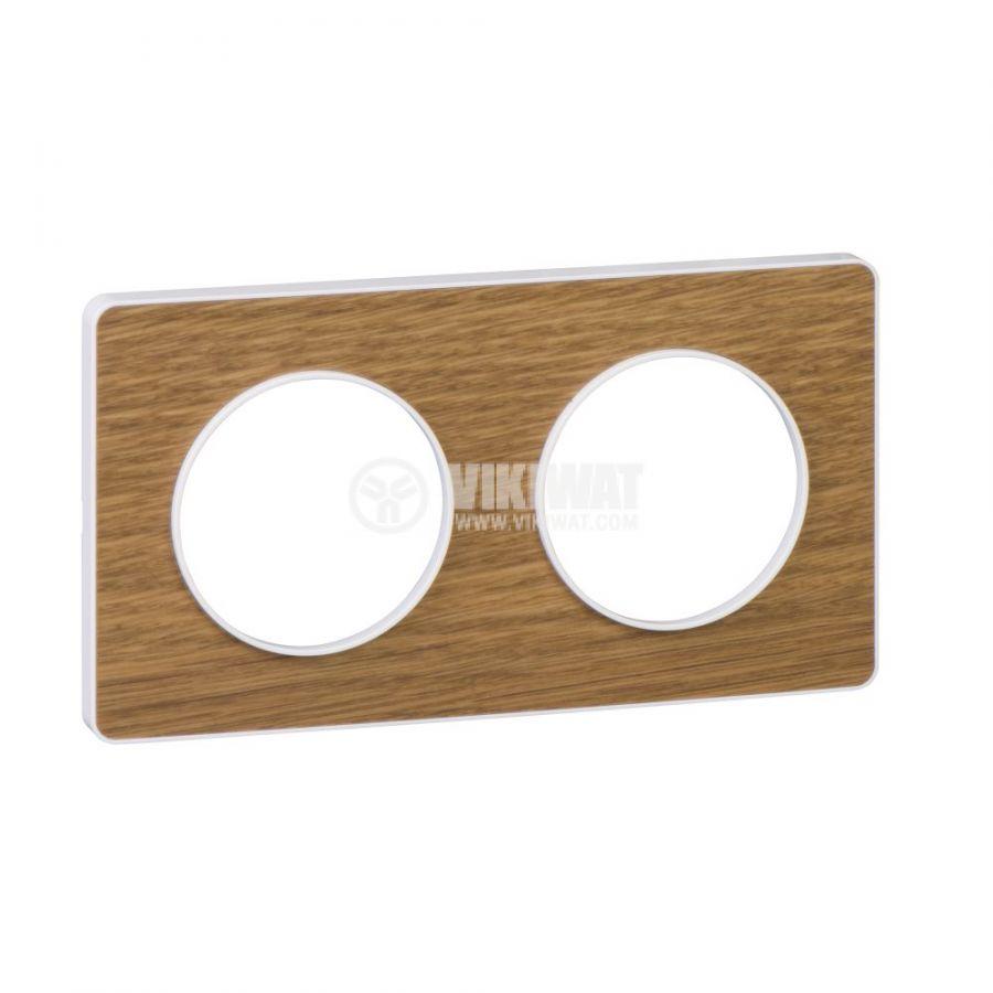 Декоративна рамка, двойна, дърво/бял, PC/дърво, S520804N