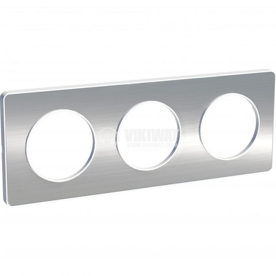 Декоративна рамка, тройна, драскан алуминий/бял, PC/алуминий, S520806J