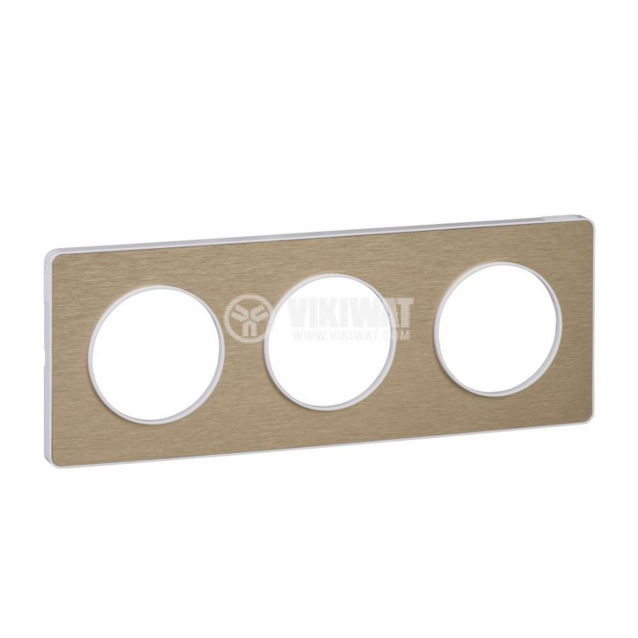 Декоративна рамка, тройна, драскан бронз/бял, PC/алуминий, S520806L