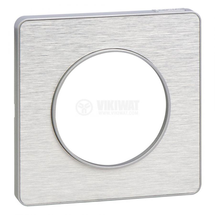 Декоративна рамка, единична, драскан алуминий/алуминий, PC/алуминий, S530802J