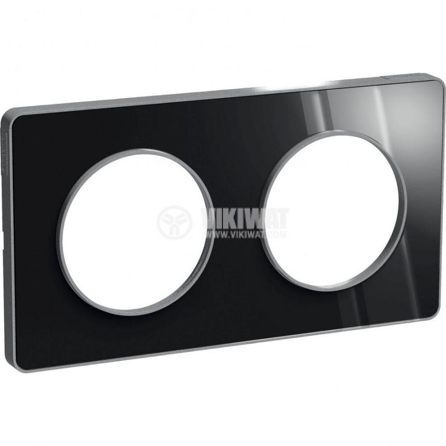Декоративна рамка, двойна, опушен алуминий/алуминий, PC/алуминий, S530804K1