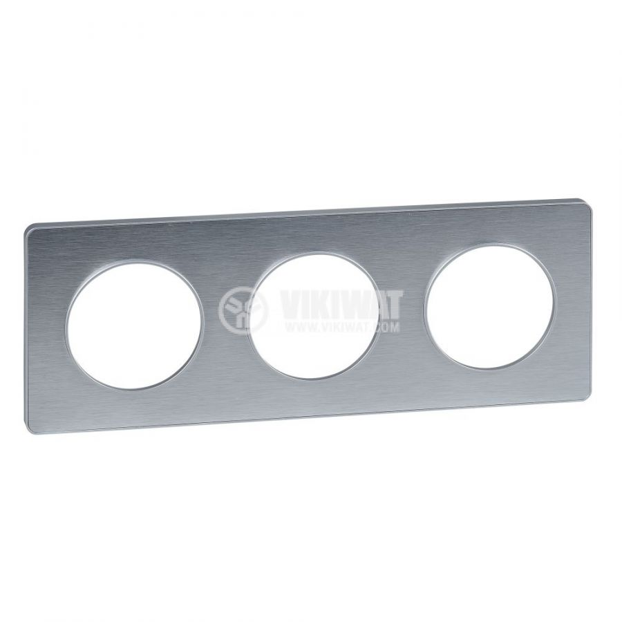 Декоративна рамка, тройна, драскан алуминий/алуминий, PC/алуминий, S530806J
