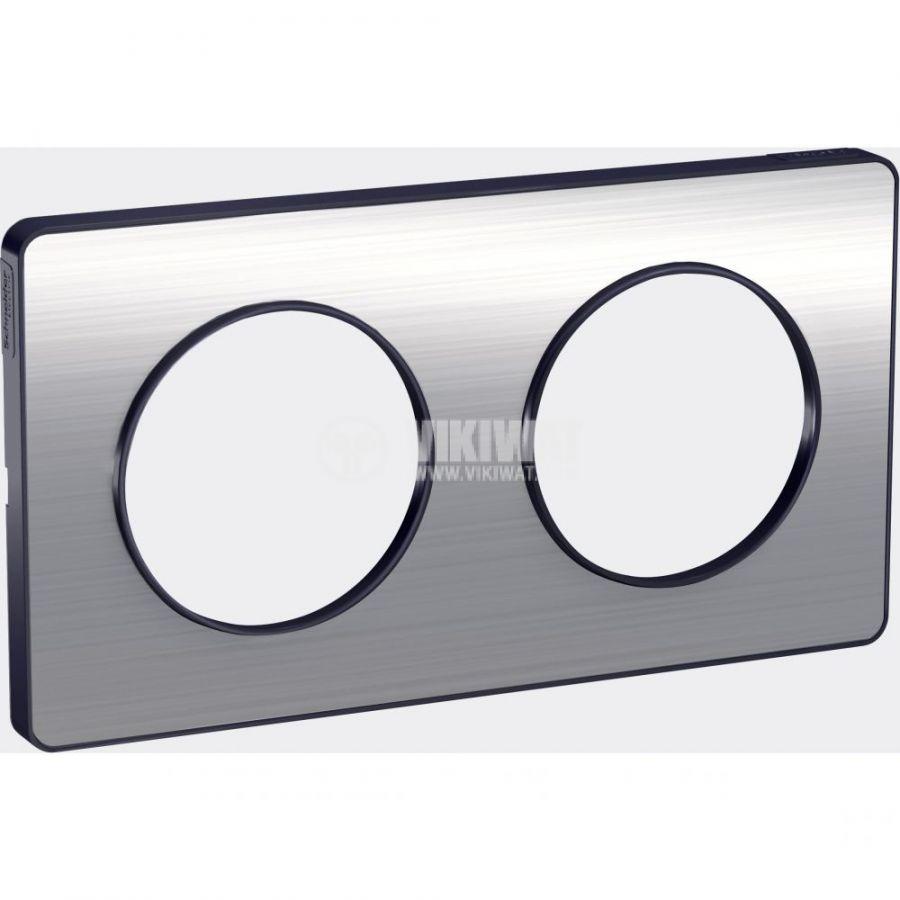 Декоративна рамка, двойна, драскан алуминий/антрацит, PC/алуминий, S540804J