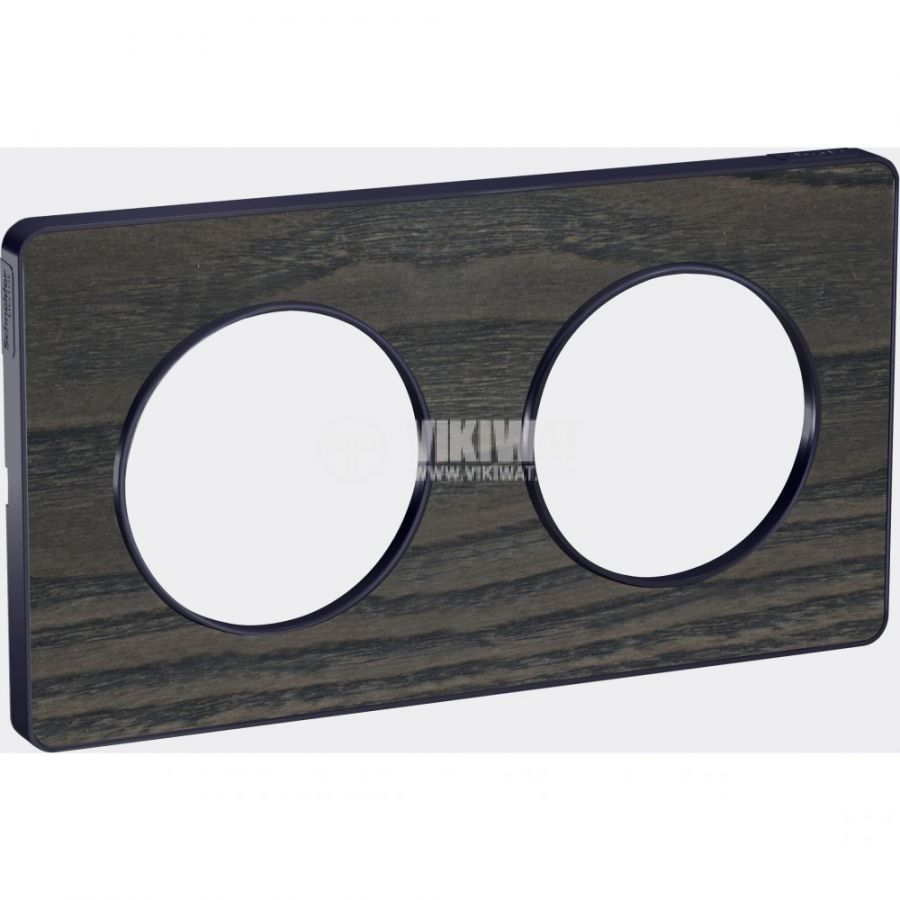 Декоративна рамка, двойна, дърво/антрацит, PC/алуминий, S540804P3