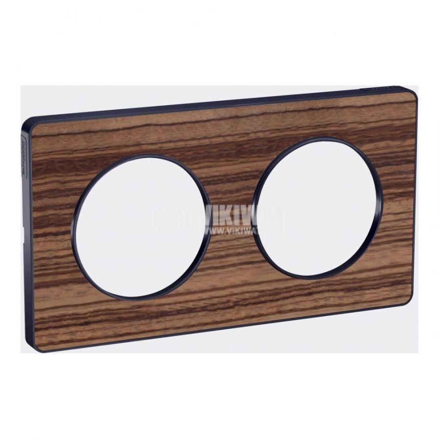 Декоративна рамка, двойна, дърво/антрацит, PC/алуминий, S540804P4