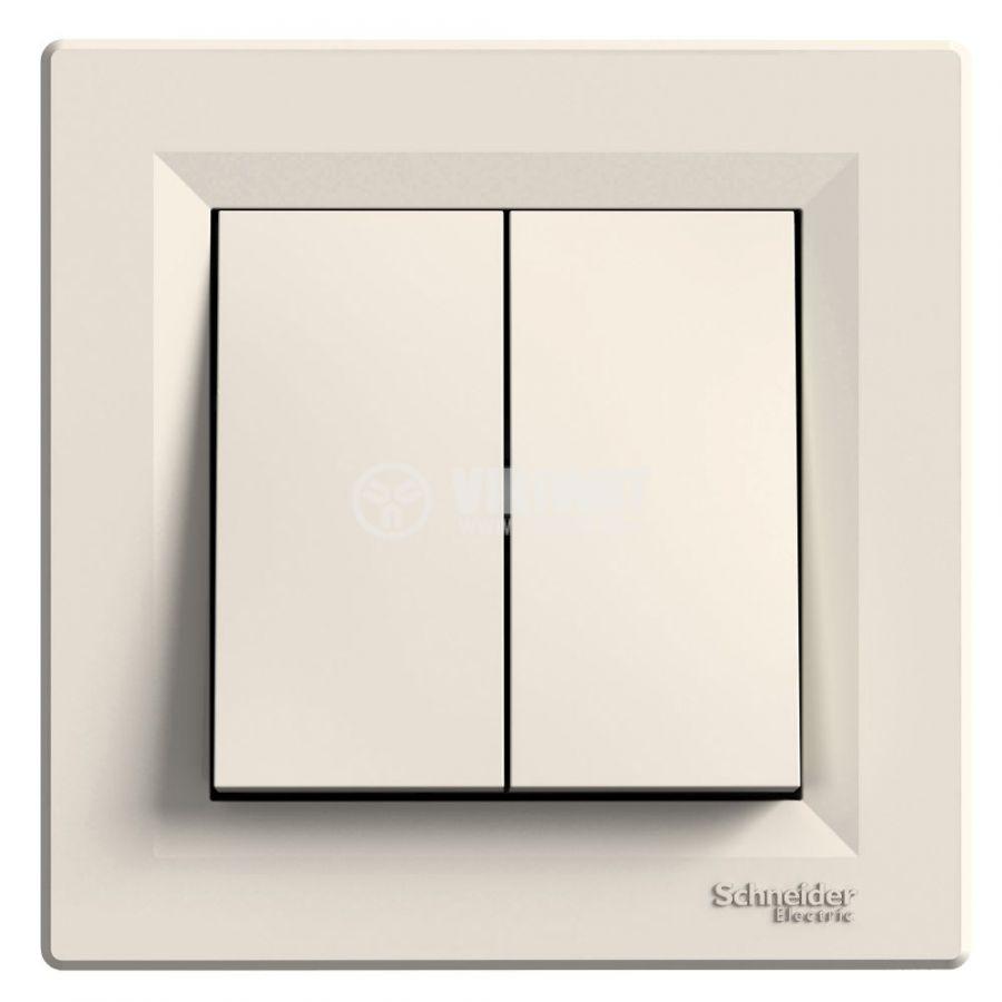 Електрически ключ сх.5 (сериен) двоен, 10A, 250VAC, за вграждане, крем, EPH0300123