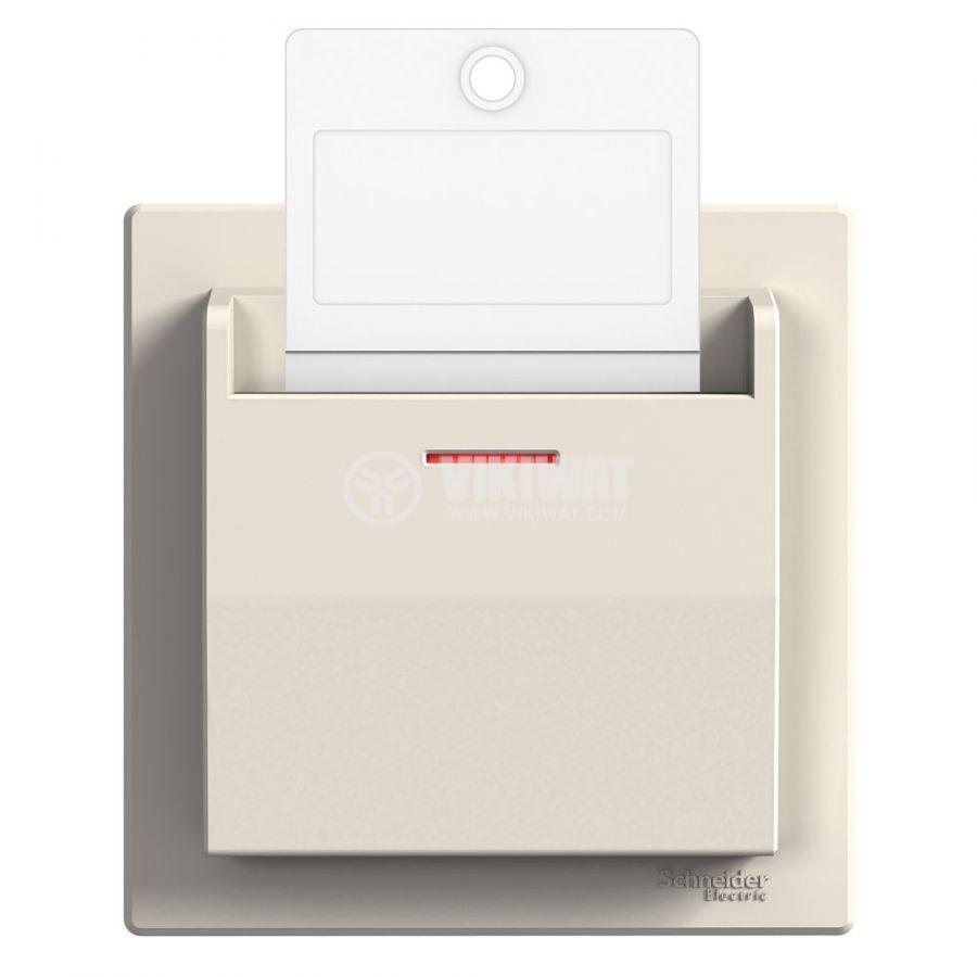 Електрически ключ за карта, 10A, 250VAC, за вграждане, крем, EPH6200123
