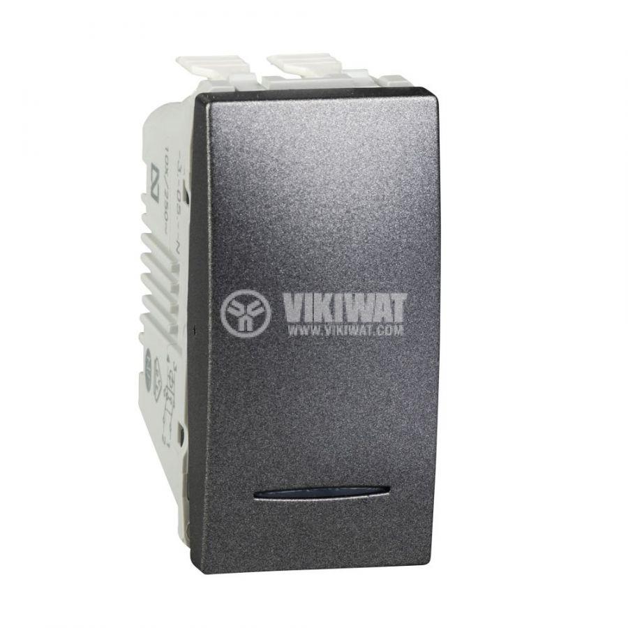Електрически ключ сх.7 кръстат, 10A, 250VAC, за вграждане, графит, MGU3.105.12N
